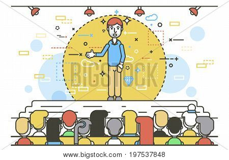 Vector illustration orator spokesman spokesperson speaker businessman rhetor hand in pocket politician speech speaking stage audience business presentation spitch line art style on white background