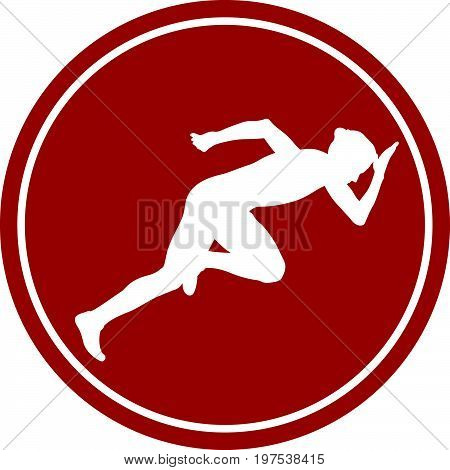 sports sign icon start woman runner from starting blocks