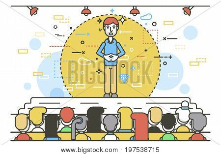 Vector illustration orator spokesman spokesperson speaker keeps fingers together businessman rhetor politician speech stage audience business presentation spitch line art style white background