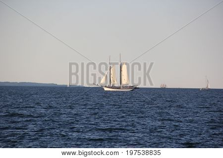 A Lake Michigan schooner on Grand Traverse Bay near Traverse City, Michigan