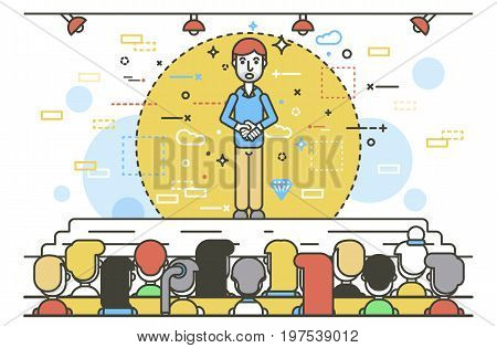Vector illustration orator spokesman spokesperson speaker keep hands together businessman rhetor politician speech speaking stage audience business presentation spitch line art style white background