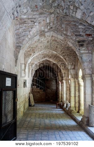 Fragment of the interior of the Evangelical Lutheran Church of the Redeemer in the old city of Jerusalem Israel.