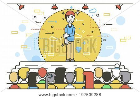 Vector illustration orator spokesman spokesperson speaker businessman closed posture fear rhetor politician speech stage audience business presentation spitch line art linear style white background