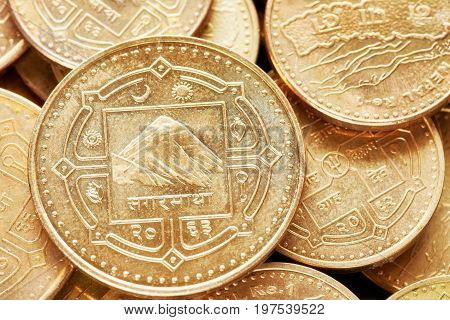 Close Up Picture Of Nepalese Rupee Coins.