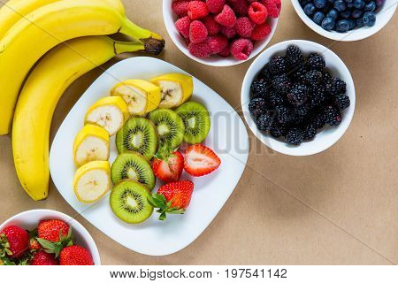 Appetizing Set Of Fresh Fruits And Ripe Berries