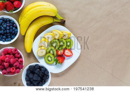 Appetizing Composition Of Fresh Fruits And Ripe Berries