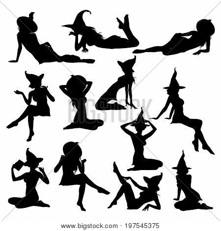 Silhouettes of Halloween witches in style pin up. Collection of beautiful young sexy witch in lying sitting poses vector icons for Halloween design.