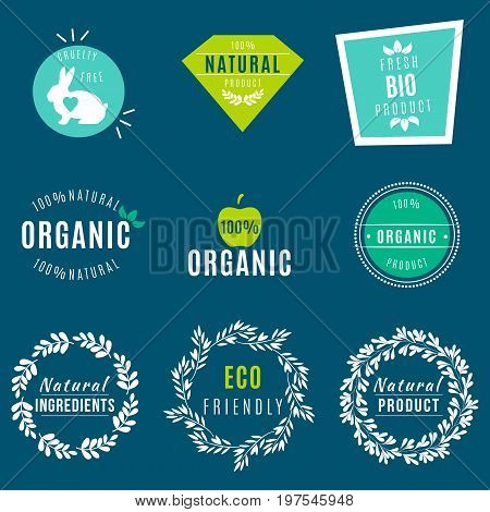 Vector Set of green labels and badges with leaves for organic, natural, bio and eco friendly products, isolated on dark background. Cruelty free, not tested on animals
