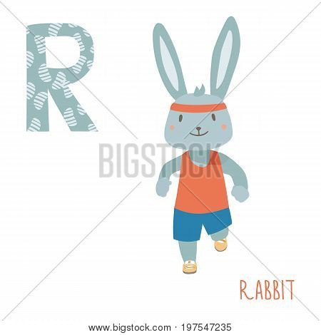 Vector kids illustration of cute animal alphabet. Letter R for the running rabbit. Cartoon cute rabbit is running in full face isolated on white background for child illustration, baby shower, birthday card, invitation, T-shirt.