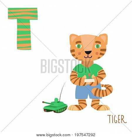 Vector kids illustration of cute animal alphabet. Letter T for the Tiger and Tank. Cartoon cute tiger play with the tank isolated on white background for child illustration, baby shower, birthday card, invitation, T-shirt.