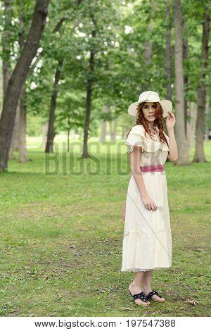 vintage woman wearing at walking in park