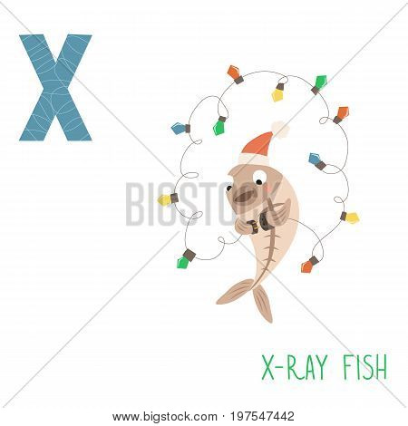 Vector kids illustration of cute animal alphabet. Letter X for the X-ray fish and X-mas. Cartoon cute X-ray fish is including a garland isolated on white background for child illustration, baby shower, birtday card, invitiation, T-shirt. Preschool and sch