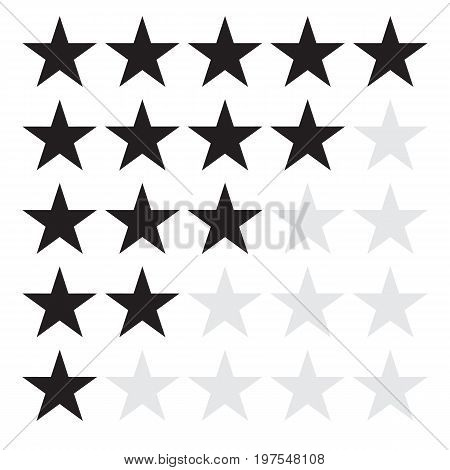 product rating or customer review feedback with black stars. product rating or customer review feedback sign.