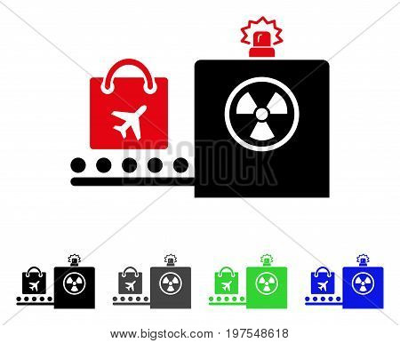 Baggage Screening flat vector illustration. Colored baggage screening gray, black, blue, green pictogram versions. Flat icon style for application design.