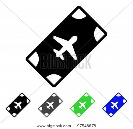 Boarding Pass flat vector illustration. Colored boarding pass gray, black, blue, green icon versions. Flat icon style for graphic design.