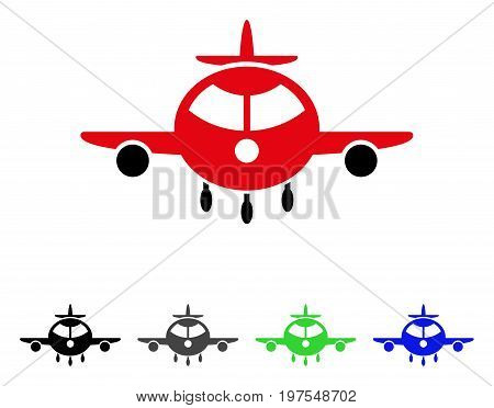 Cargo Plane flat vector illustration. Colored cargo plane gray, black, blue, green icon variants. Flat icon style for web design.