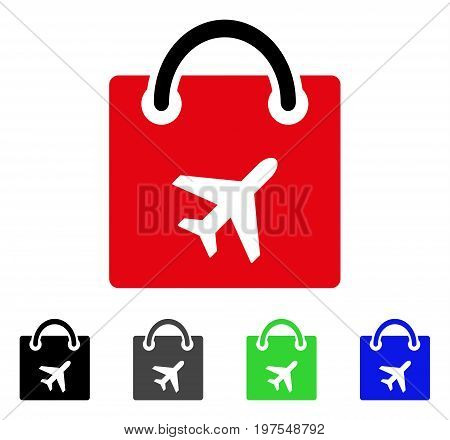 Duty Free Bag flat vector pictogram. Colored duty free bag gray, black, blue, green pictogram versions. Flat icon style for application design.