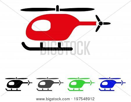 Helicopter flat vector icon. Colored helicopter gray, black, blue, green icon versions. Flat icon style for web design.