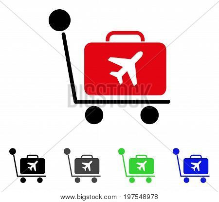 Luggage Trolley flat vector pictograph. Colored luggage trolley gray, black, blue, green pictogram variants. Flat icon style for web design.