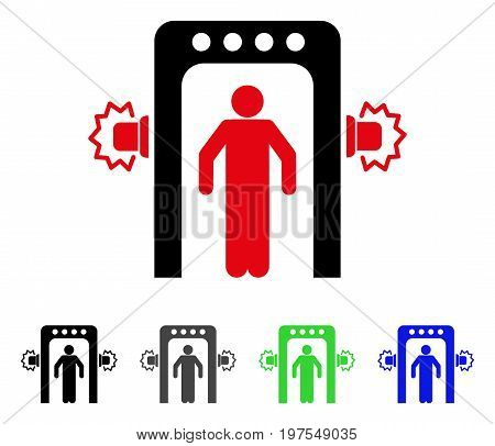 Passenger Screening flat vector pictograph. Colored passenger screening gray, black, blue, green icon versions. Flat icon style for web design.
