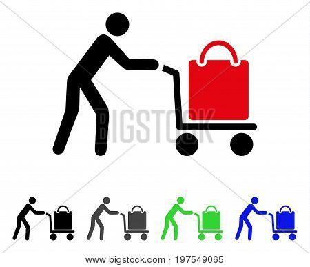 Passenger Trolley flat vector pictogram. Colored passenger trolley gray, black, blue, green pictogram versions. Flat icon style for application design.