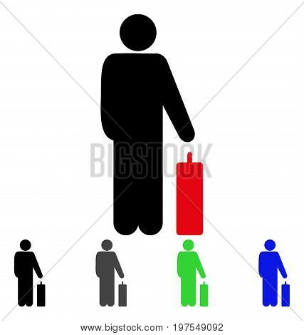 Passenger flat vector pictogram. Colored passenger gray, black, blue, green icon versions. Flat icon style for application design.
