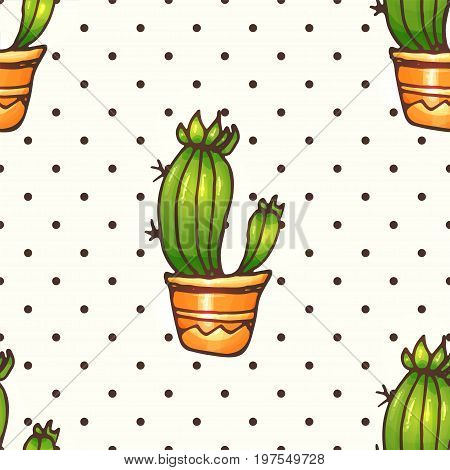 Cactus and succulents polka dots seamless pattern illustration. Vector plants in a pots. Hand drawn doodle cacti.