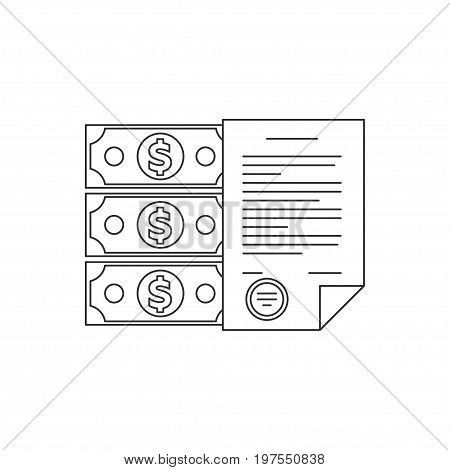 Contract line icon. Business contract with stamp. Money and form