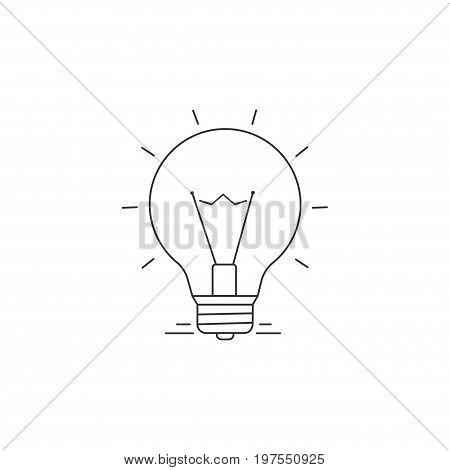 Ideas Vector Line Icon. Burning light bulb symbol of thought. Eureka
