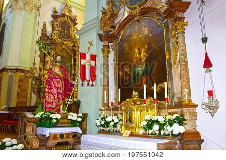 Salzburg, Austria - May 01, 2017: Saint Peter Abbey Church interior at Salzburg, Austria on May 01, 2017. Founded in 696 it is considered one of the oldest monasteries in the German speaking area.
