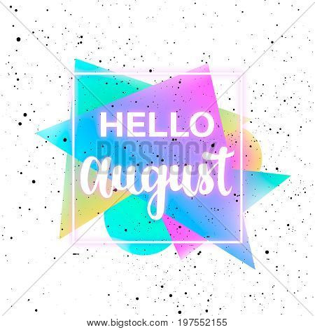Summer August neon memphis 80x background with grunge texture. Minimal printable journaling card, creative card, art print, minimal label design for banner, poster, flyer.