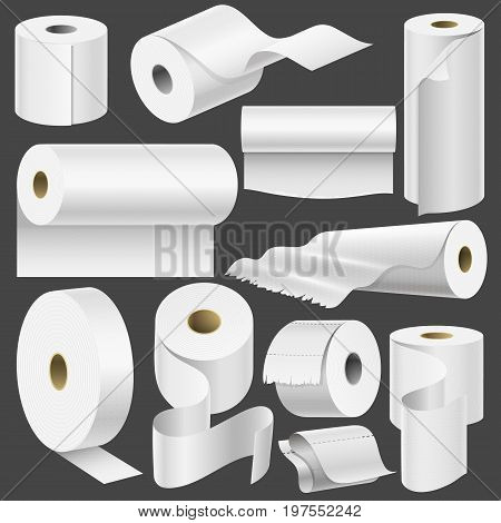 Realistic toilet paper roll mock up set isolated vector illustration blank white 3d packaging kitchen towel, toilet paper roll, cash register tape, thermal roll template