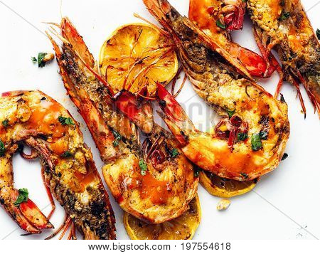 close up of rustic piri-piri grilled prawn