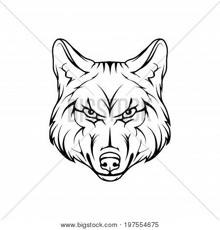 Vector sketch of a wolf. Business sign logotype wolf face. Sketch of a tattoo wolf. Forest predatory beast dangerous wolf poster