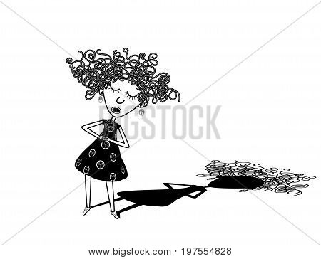 Curly girl singer. Isolated black and white vector