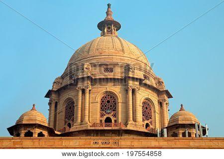 Architectural detail of the Rashtrapati Bhavan - president estate - Delhi, India