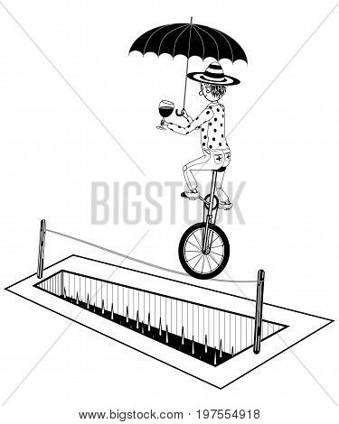 Equilibrist on unicycle rides on a rope over a pit of spikes