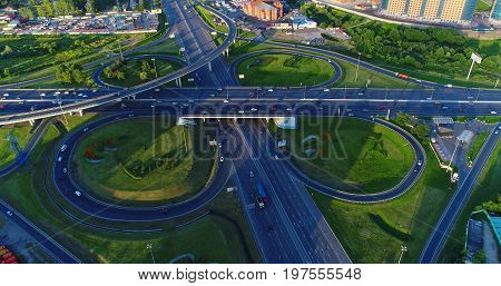 Road junction of the highway Enthusiasts and the Moscow Ring Road. View from above.