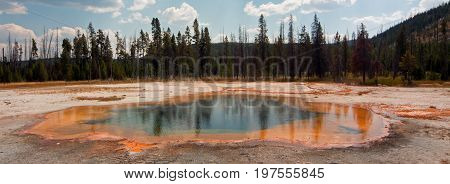 Emerald Pool hot spring in the Black Sand Geyser Basin in Yellowstone National Park in Wyoming United States