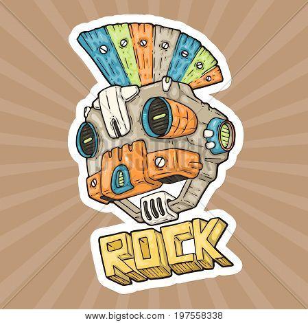 cartoon punk-rock music robot. vector illustration for web and print.