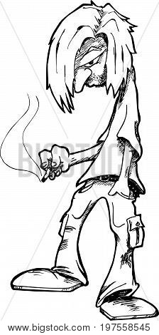 Depressed man with long hair smoking a cigarette.