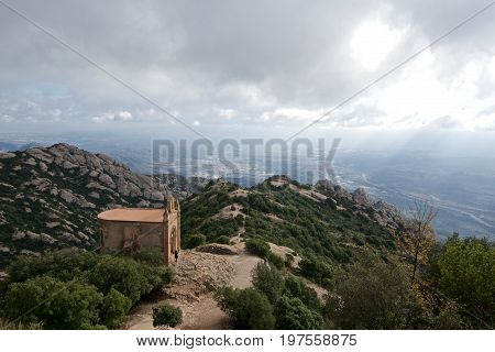 Scenic view of rocky mountains on a stormy day in Spain