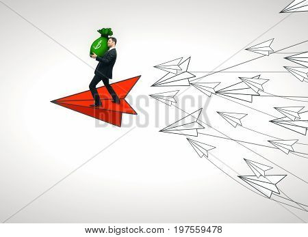 Abstract image of young businessman with money bag flying on red paper plane leading white ones on light background. Leadership and money concept. 3D Rendering