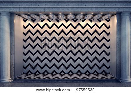 Front view of blank zigzag patterned window display with columns in night city. Advertising and trade concept. Mock up 3D Rendering