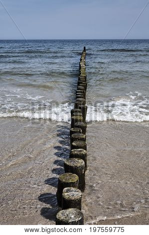 Sandy beach and wooden breakwater on the Baltic coast