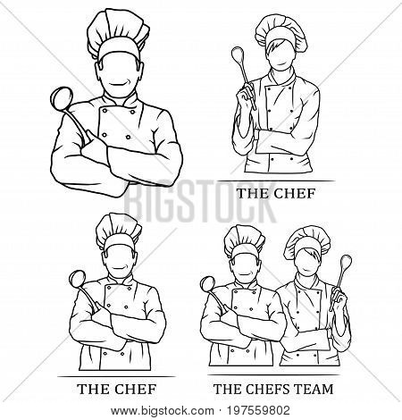 Vector illustration of a set of chef team. Logo of a man with a chef's spoon and a woman chef in a white uniform. Chef tunic