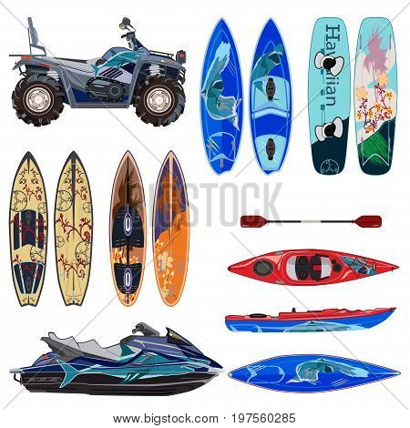 Vector beach sport equipment icons set. Water scooter quad bike two sides of surfing boards and wakeboard kayak with paddle isolated on white background. Flat style design.