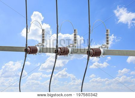 High voltage transformer circuit breaker with electrical insulation in power substation.