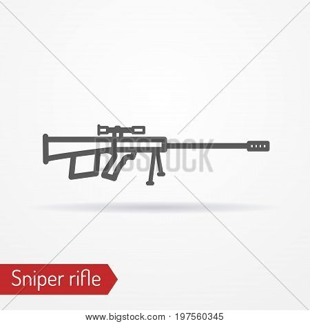 Abstract isolated sniper rifle icon in silhouette line style with shadow. Typical army sharpshooter or hunter weapon. Military vector stock image.