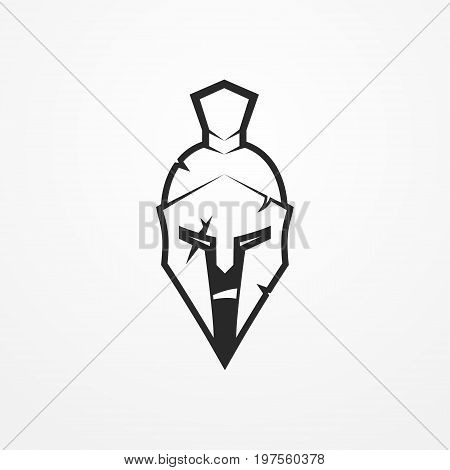 Furious face of a roman warrior in battle helmet. Head of a spartan soldier in flat silhouette style. Sport logotype or design element. Warrior vector stock image.